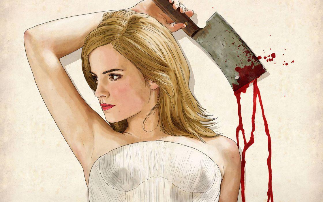 Emma Watson Blonde Knife Blood Drawing wallpaper