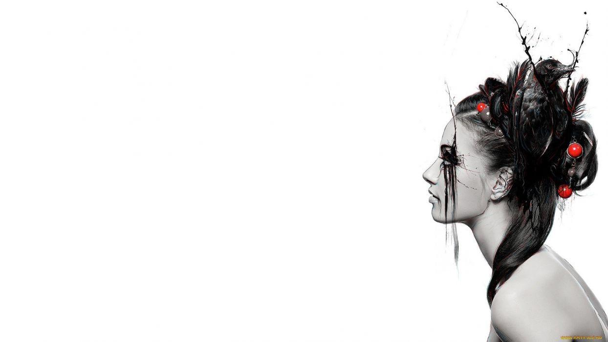 Face White Abstract Crow Bird fantasy women females wallpaper