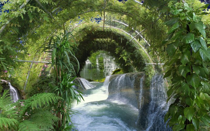 greenhouse waterfall plants wallpaper