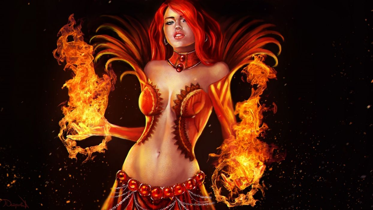 Guild Wars 2 Warriors Fire Magic Redhead girl Games Girls wallpaper