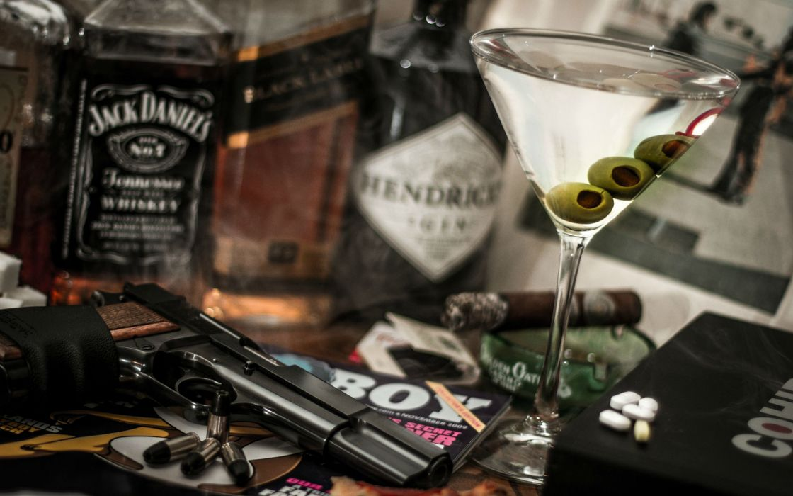 Handgun Martini Alcohol Jack Daniel's Whiskey Bullets Ammunition wallpaper