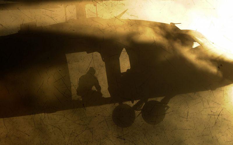 Helicopter Debris Silhouette wallpaper