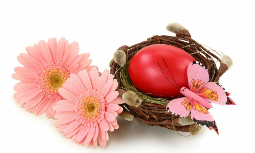 Holidays Easter Butterflies Gerberas Eggs wallpaper