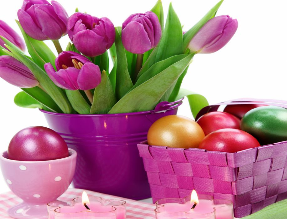 Holidays Easter Tulips Eggs Violet wallpaper