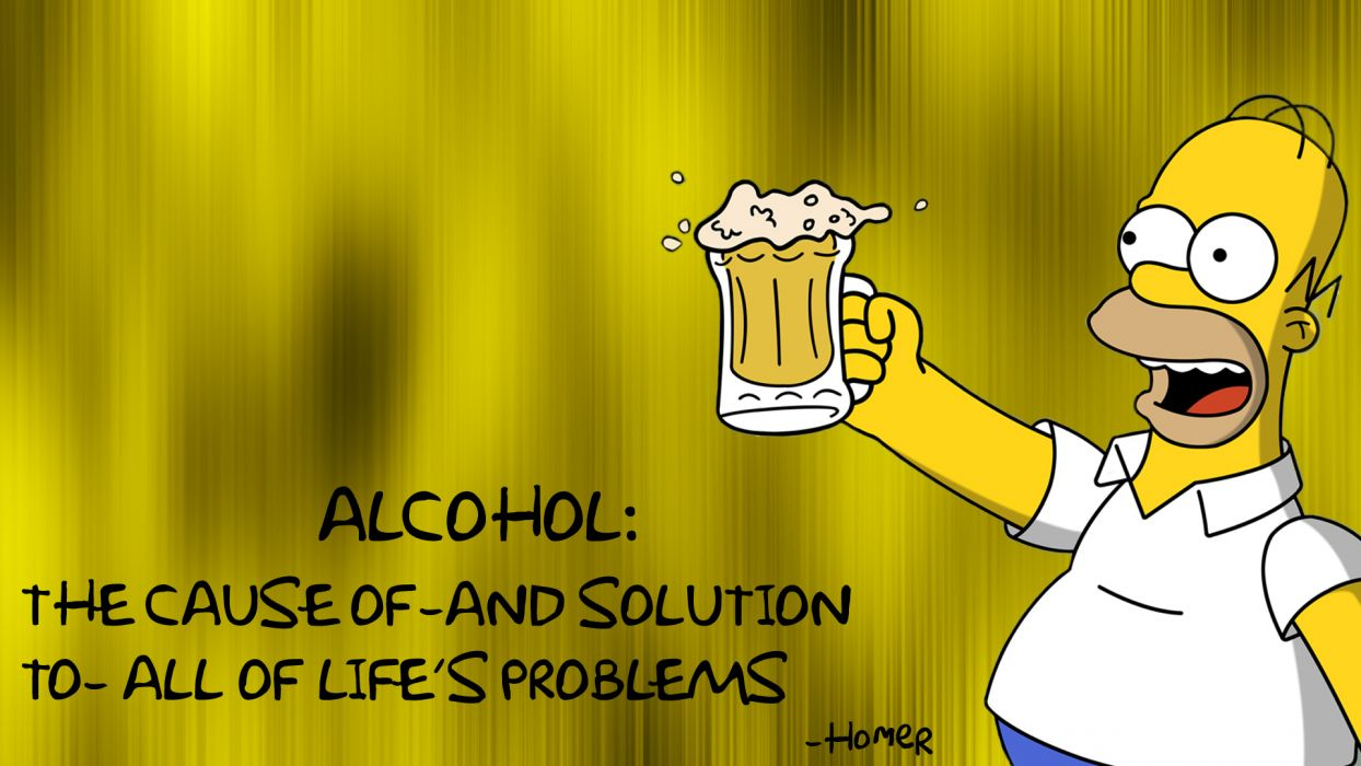 Homer The Simpsons Alcohol Beer Cause Solution wallpaper