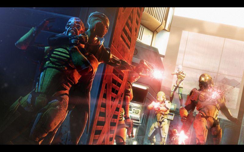 Mass Effect Warriors Battles Aliens Firing wallpaper