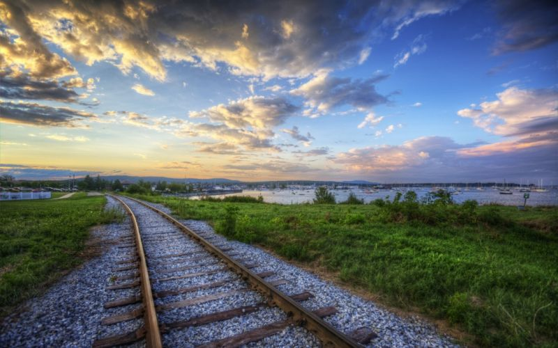 landscapes clouds nature trtain tracks hdr wallpaper