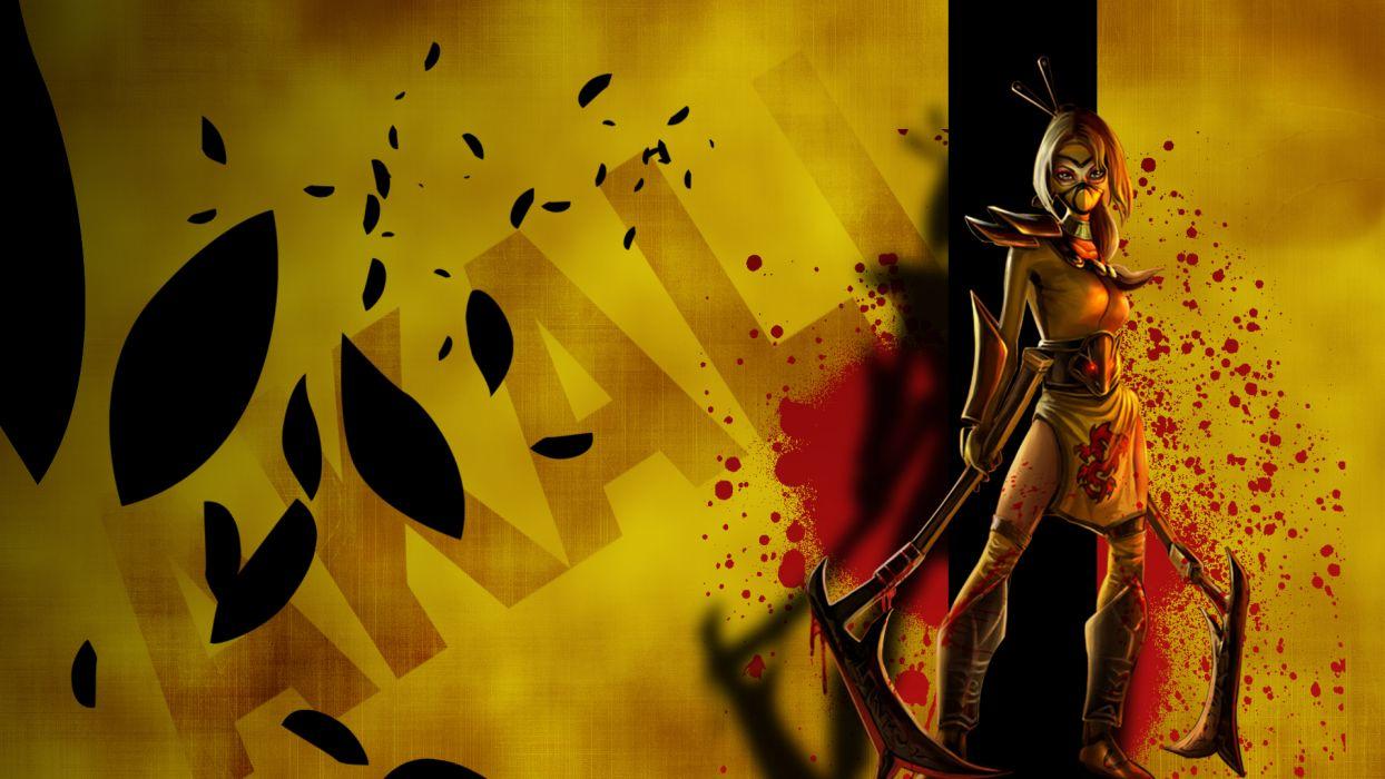 League of Legends Akali Yellow Blood fantasy wallpaper