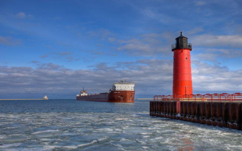 lighthouse sea karabl barge ship wallpaper
