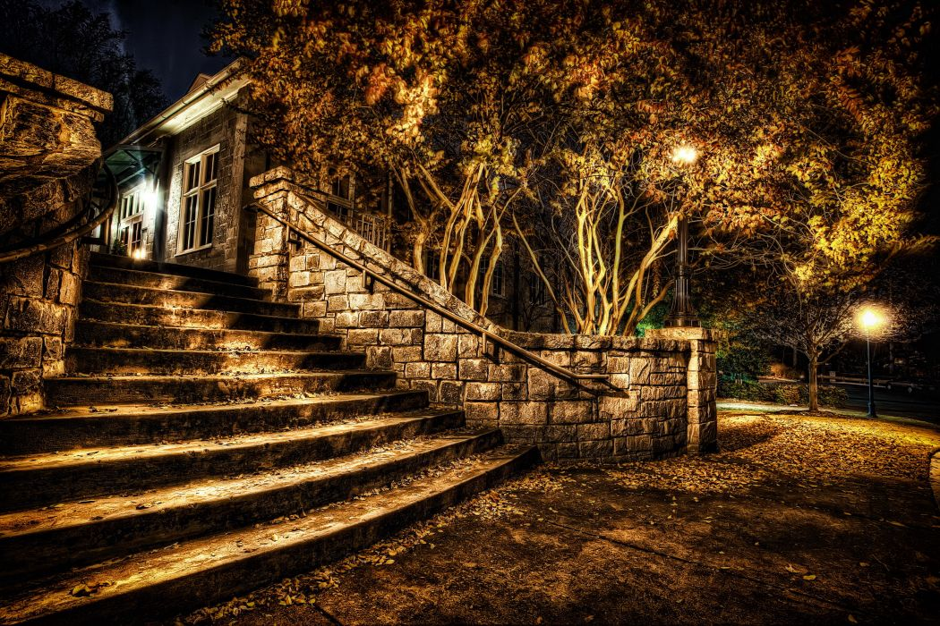 Parks Autumn Stairs Night HDR Nature wallpaper