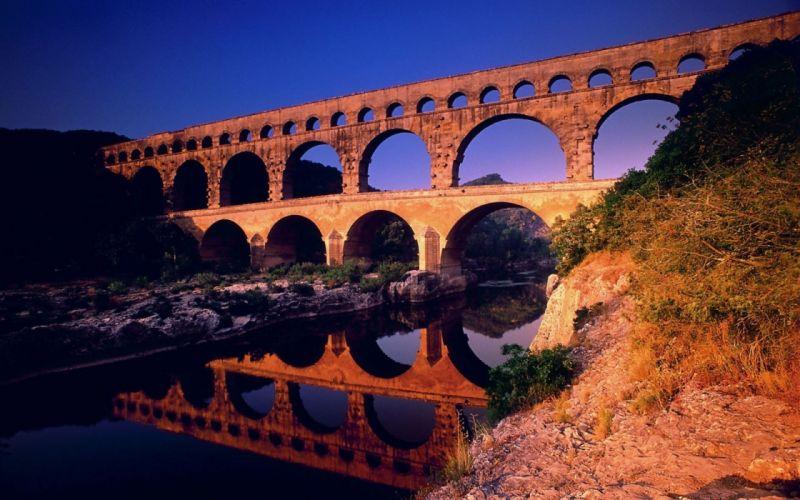 mountain river bridge wallpaper