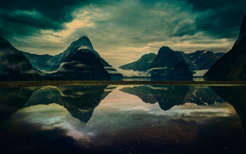 Mountains Landscape Clouds Reflection Lake wallpaper