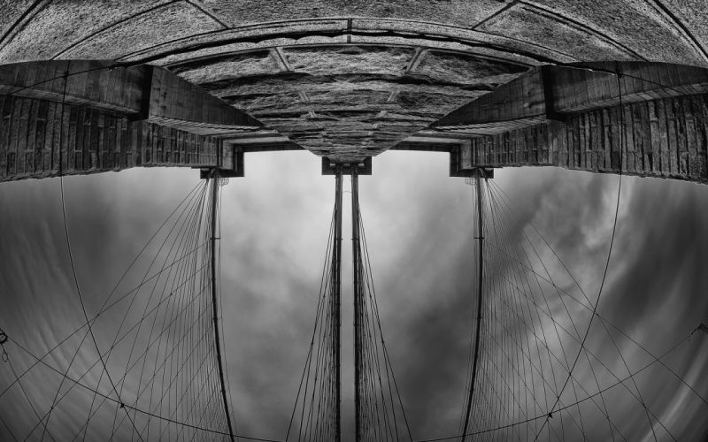 New York Cables BW Fisheye Bridge wallpaper
