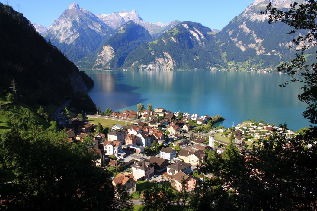 Scenery Switzerland Mountains Morschach cities lakes wallpaper