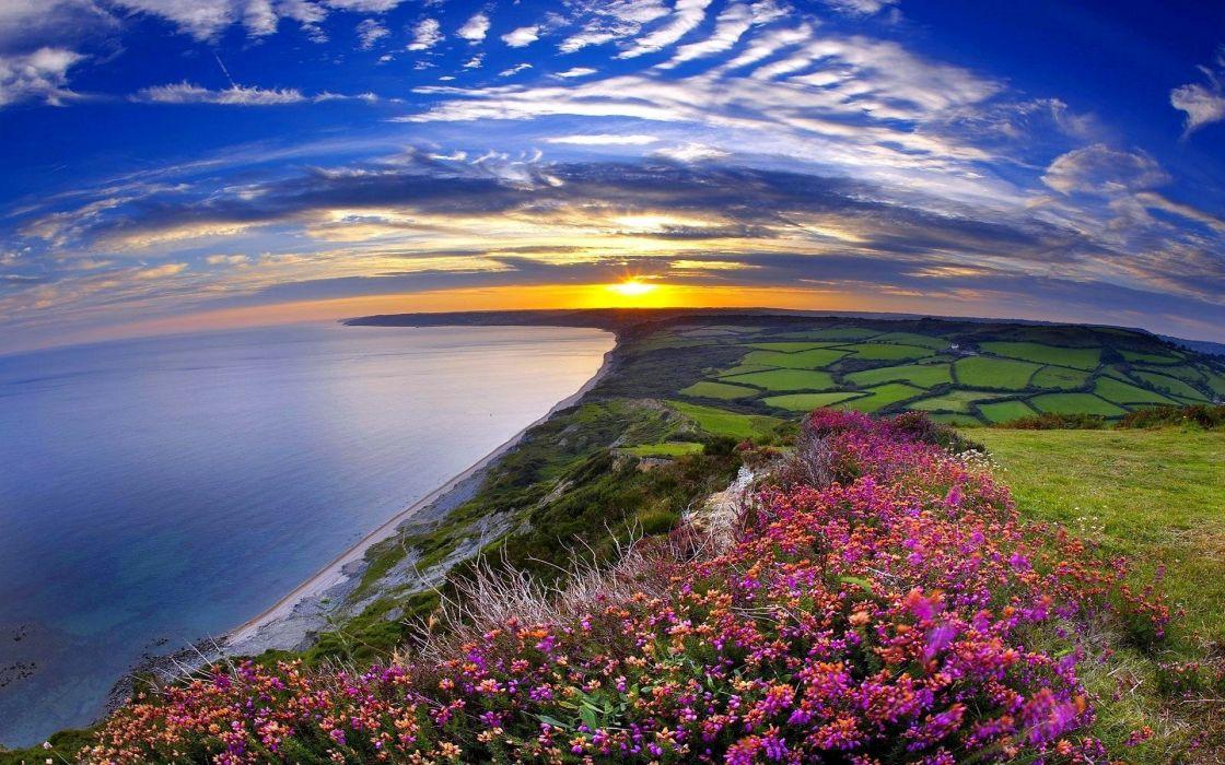 sea beach sunset landscape wallpaper