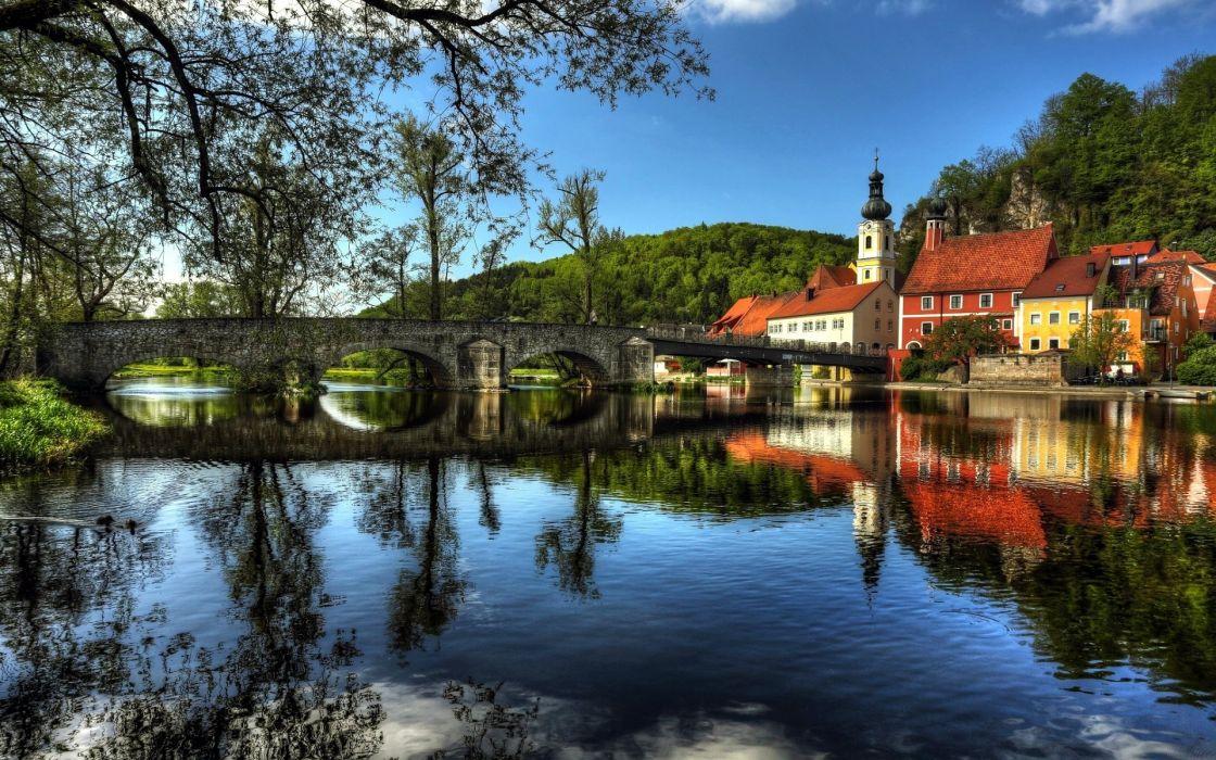 river bridge house landscape wallpaper