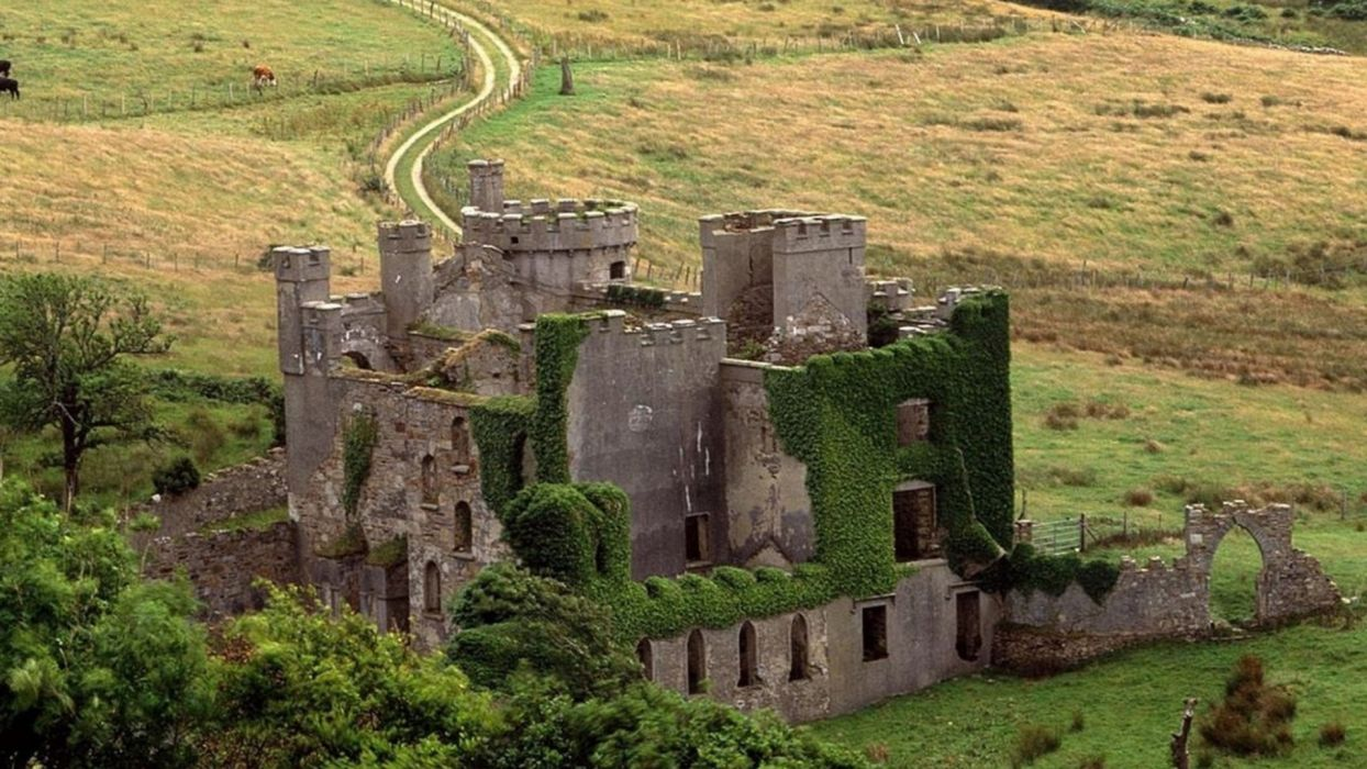 ruins wall castle landscape road wallpaper
