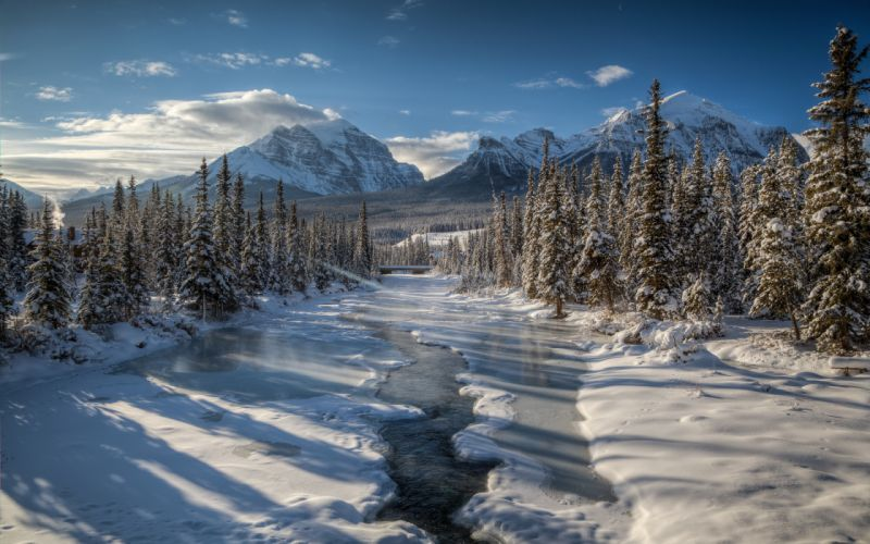 winter river mountain forest trees Mount Temple Canada snow wallpaper