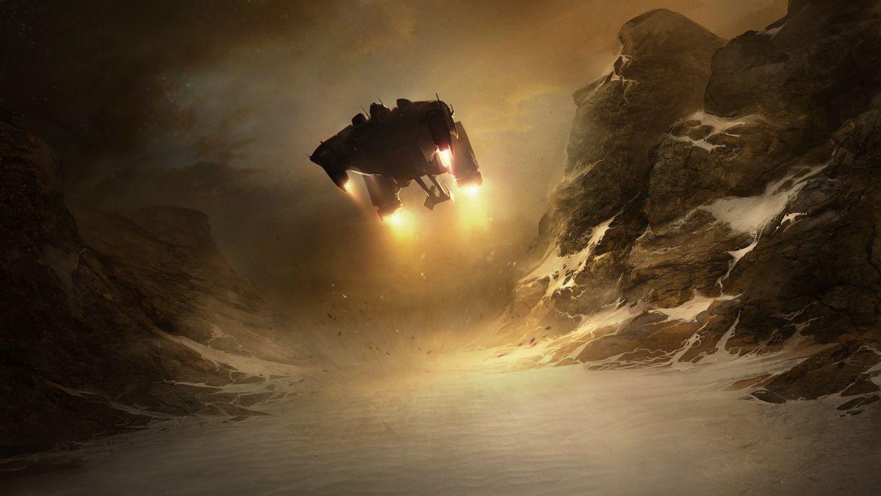 StarCraft Spaceship Landing Snow Drawing sci-fi wallpaper