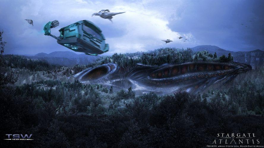 stargate atlantis stargate science fiction hive wraith wraith hive puddle jumper wraith dart wallpaper