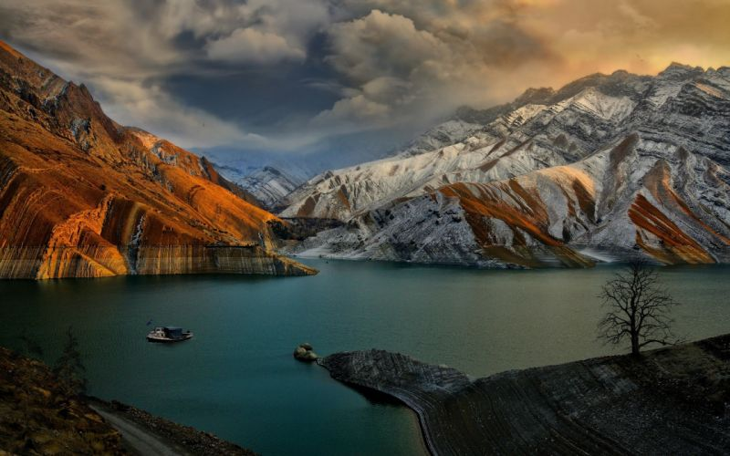 sunset lake mountains landscape wallpaper