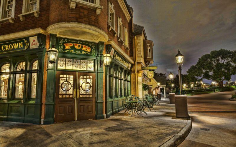 USA Disneyland California Street Door HDR buildings wallpaper