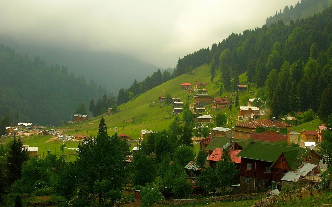 Village Rize nature Turkey landscapes countryside nature mountains trees forest wallpaper