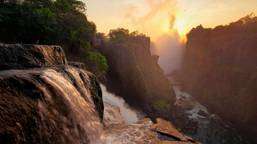 Waterfall River Cliff Sunset Trees Forest wallpaper