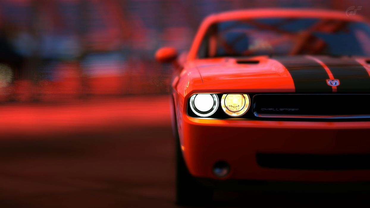video games cars vehicles Gran Turismo 5 Dodge Challenger SRT8 PS3 Red Bull's Hangar wallpaper