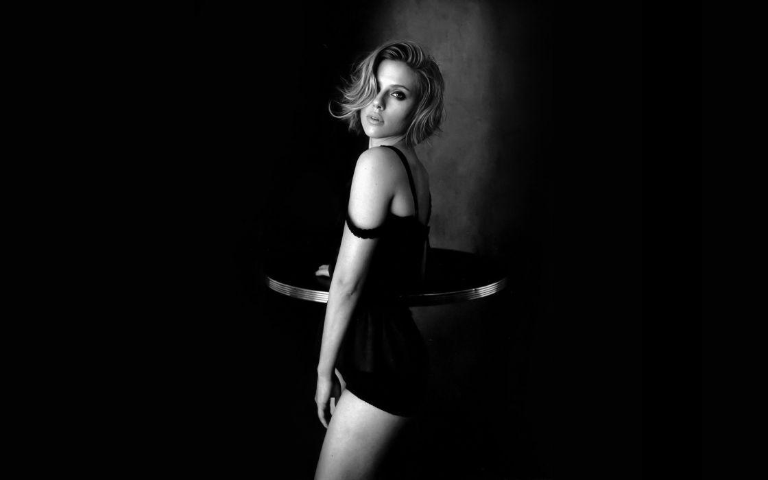 women Scarlett Johansson monochrome wallpaper