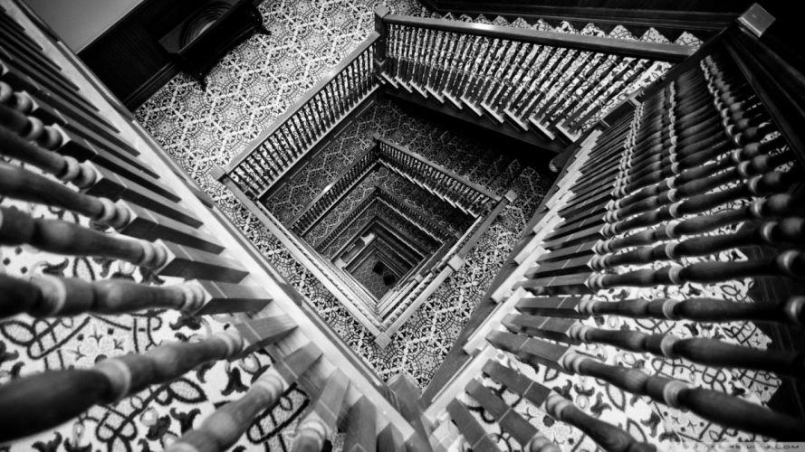 black and white stairways wallpaper