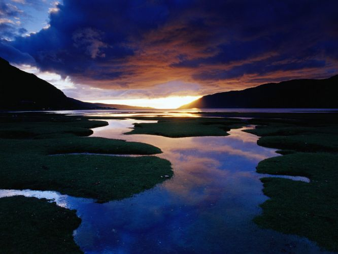 sunset mountains lakes rivers wallpaper