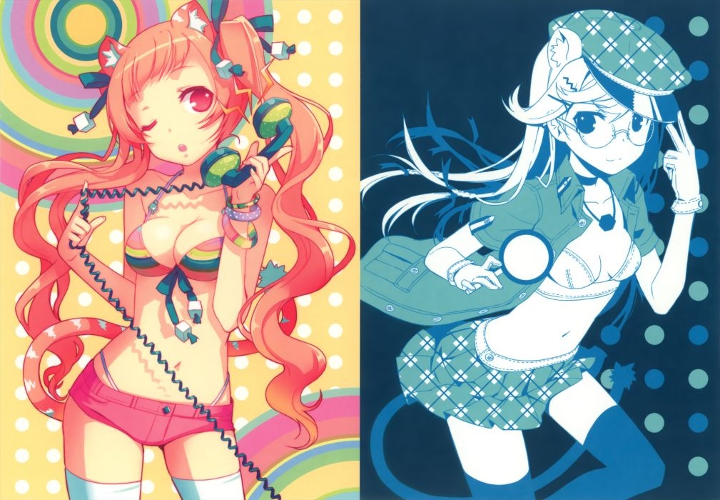animal ears bikini cleavage glasses h2so4 hat original phone swimsuit tail thighhighs twintails wallpaper