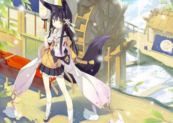 animal ears flowers foxgirl japanese clothes original poco tail yellow eyes wallpaper