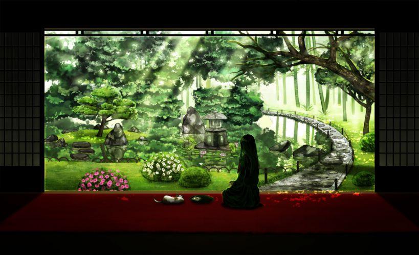 amemura (caramelo) flowers green hair original scenic tree wallpaper