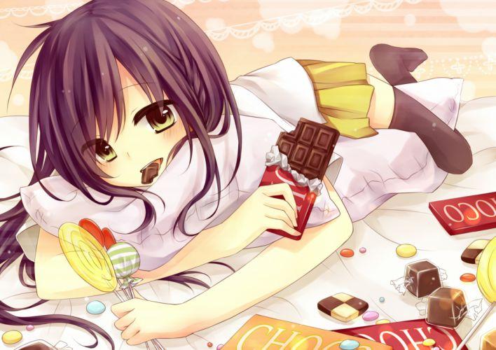 amane kurumi candy chocolate lollipop original skirt thighhighs wallpaper