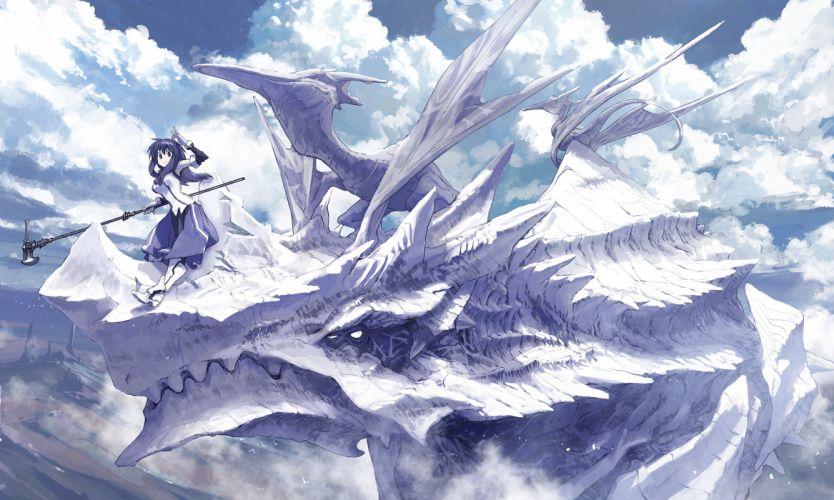 animal armor bird blue eyes blue hair clouds dragon masariro original weapon wings wallpaper