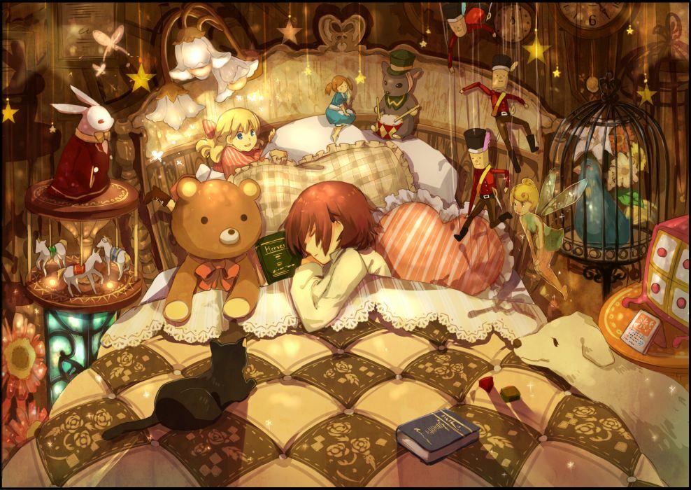 animal bed bird book brown hair bunny cat dog doll flowers night original puppet ribbons sleeping stars teddy bear yunomachi wallpaper