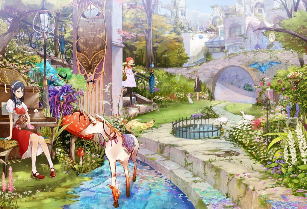animal bird blue eyes dog dress flowers instrument original pantyhose petals piano shigureteki tree water wallpaper