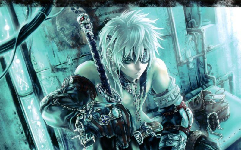 blue eyes eyepatch gloves male original phone photoshop short hair sword weapon white hair wallpaper