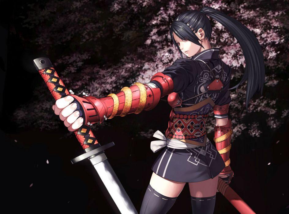 armor black hair brown eyes cherry blossoms katana kurumayama original red eyes sword thighhighs weapon wallpaper