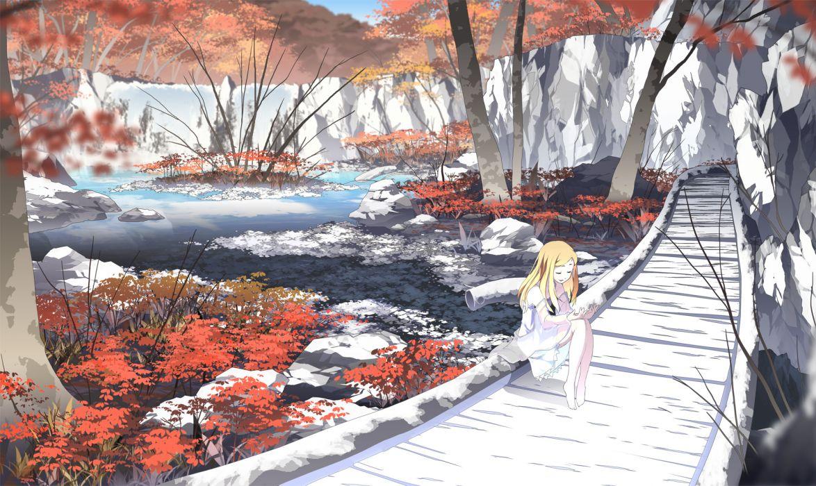asakura masatoki barefoot dress forest landscape original scenic water wallpaper