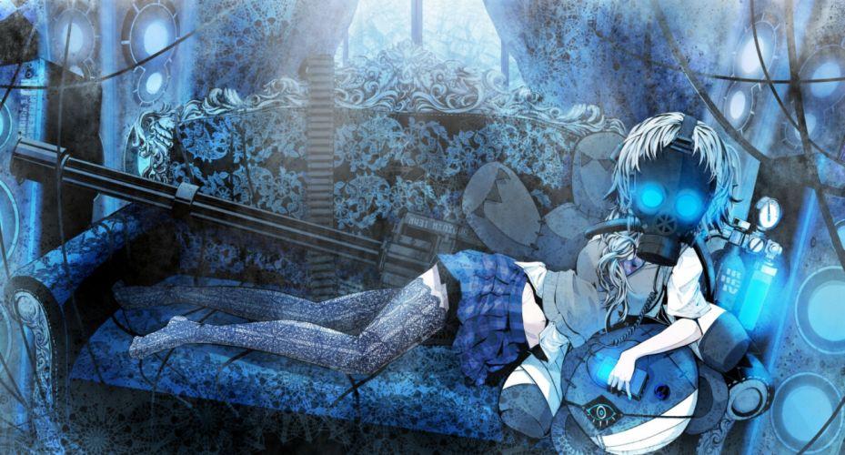 beshi blue blue eyes gun mask original seifuku skirt thighhighs tie weapon wallpaper