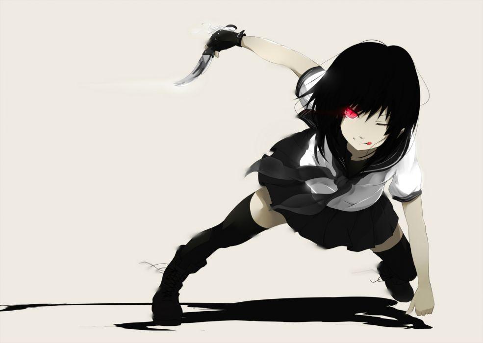 black buraku black hair knife original polychromatic red eyes seifuku wallpaper