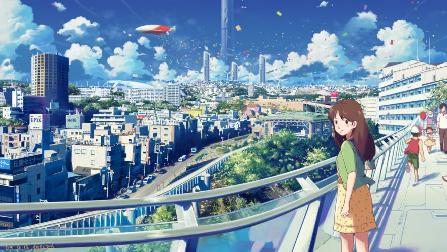 black eyes brown hair city clouds isai shizuka long hair original scenic skirt sky wallpaper