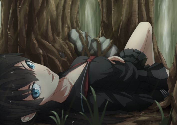 black hair blue eyes el-f original seifuku wallpaper