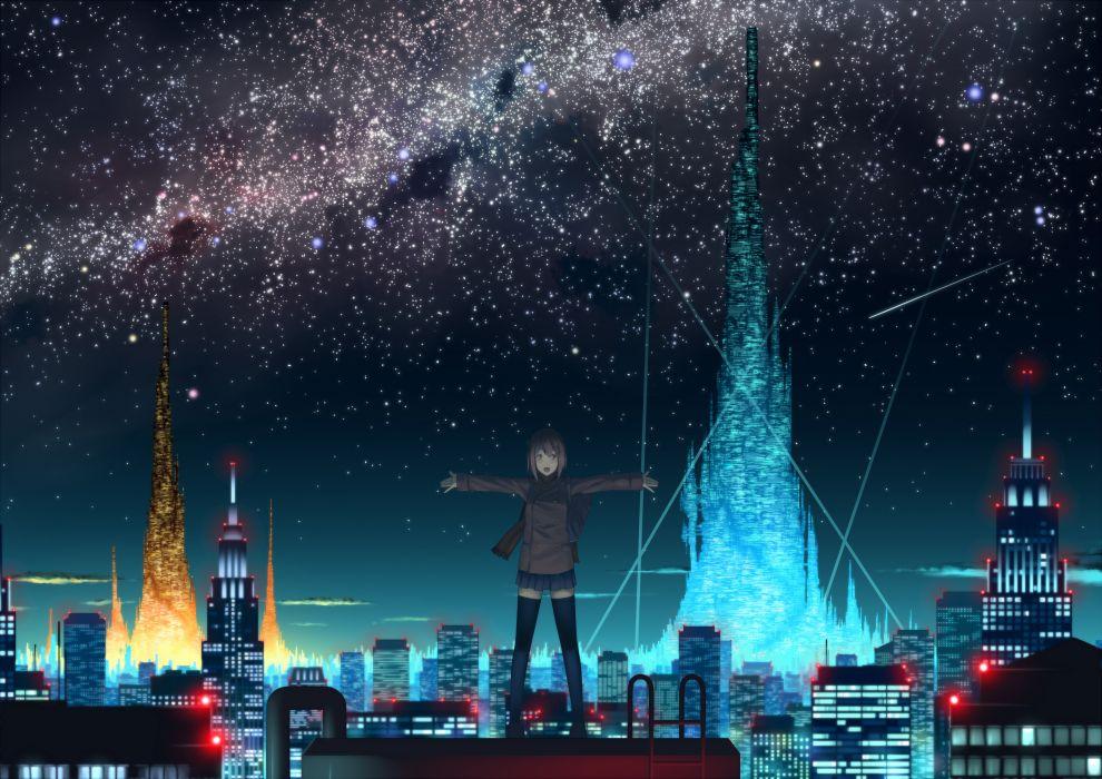 brown hair city eshi landscape night original scenic seifuku short hair skirt sky stars thighhighs wallpaper