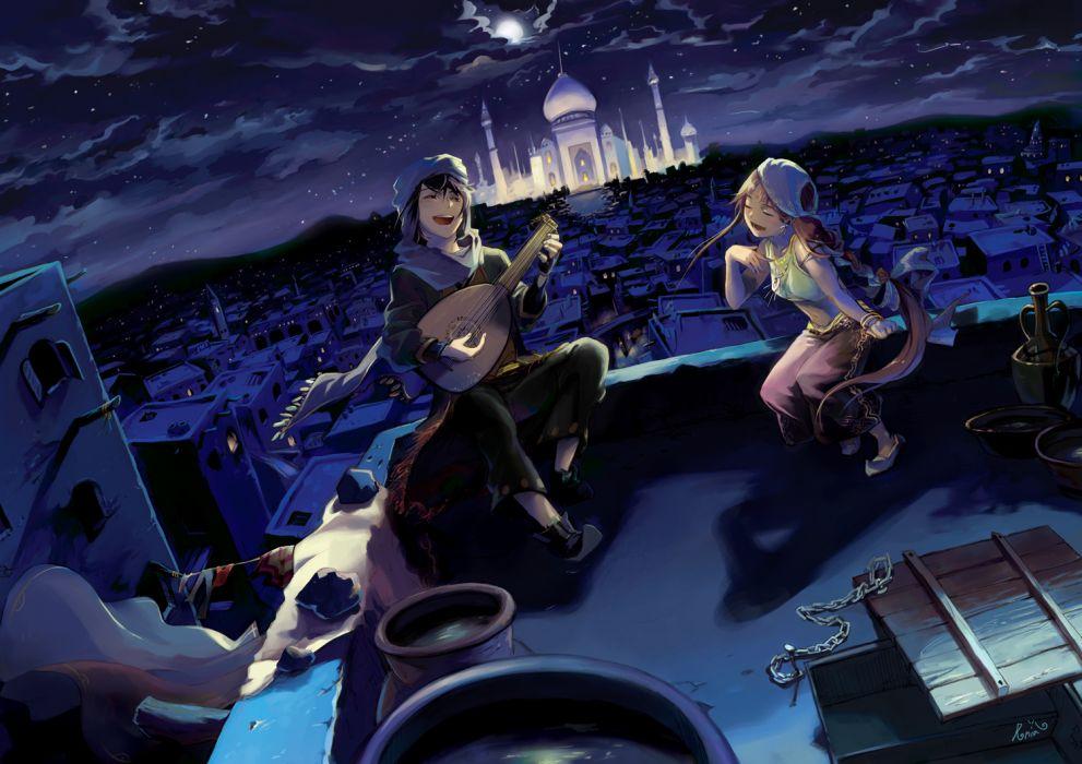 chain city clouds guitar instrument moon night original runia water wallpaper