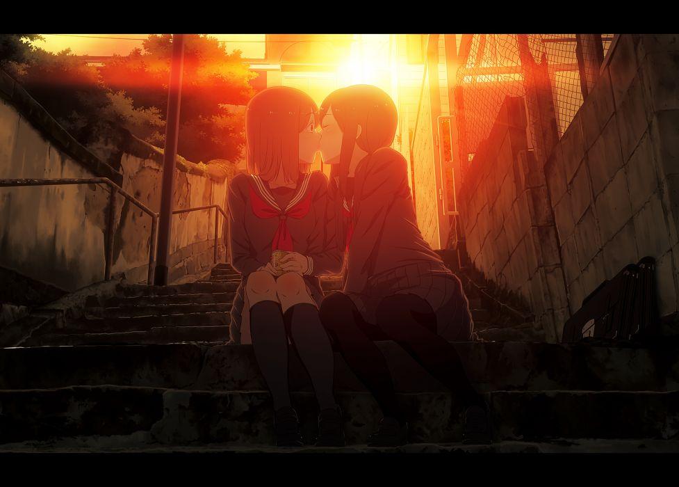 girls bookiti kiss original pantyhose seifuku sunset yuri wallpaper
