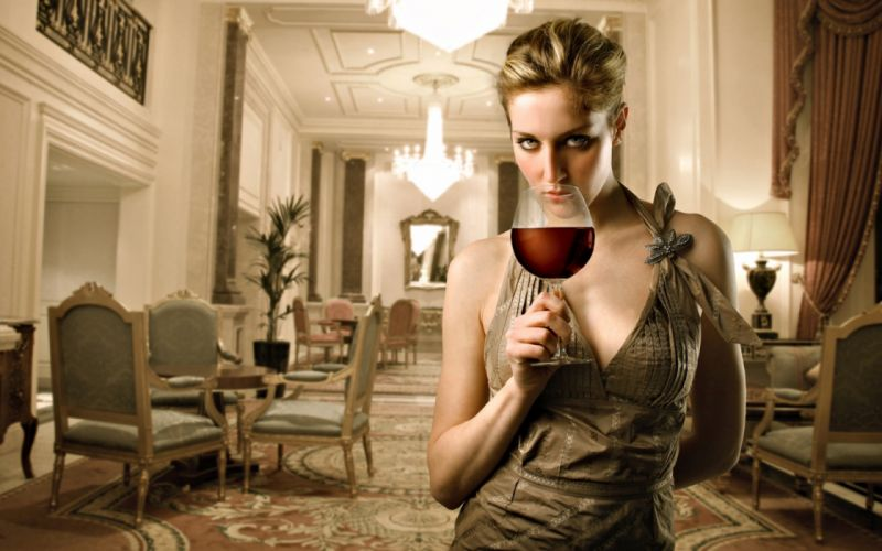 Woman with Wine wallpaper